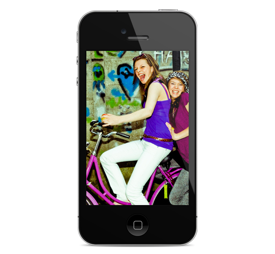 Smart Phone with Girls on Bicycle