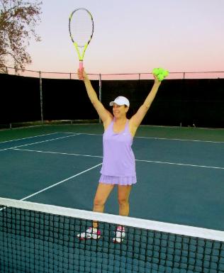 Lisa playing tennis
