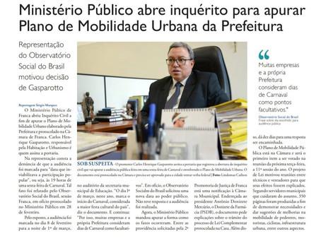 Ministério Público abre inquérito para apurar Plano de Mobilidade Urbana da Prefeitura.