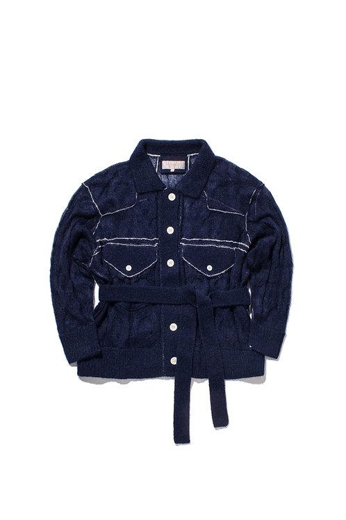WATER Denim-Style Knit Cardigan - Navy