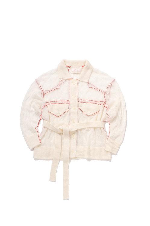 WATER Denim-Style Knit Cardigan - Cream