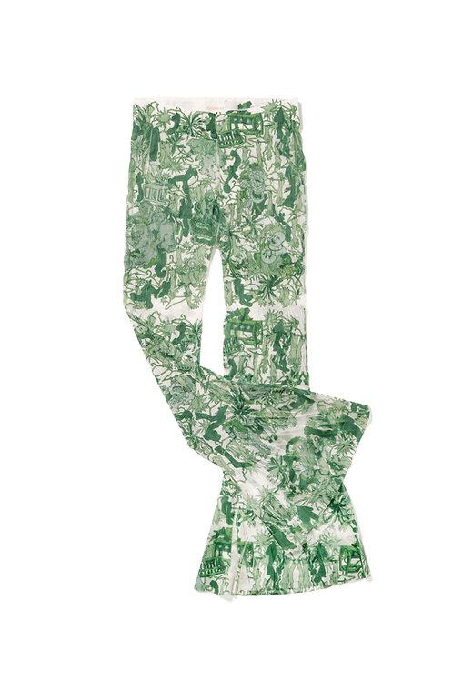 WRAP Printed Nylon Flare Trousers