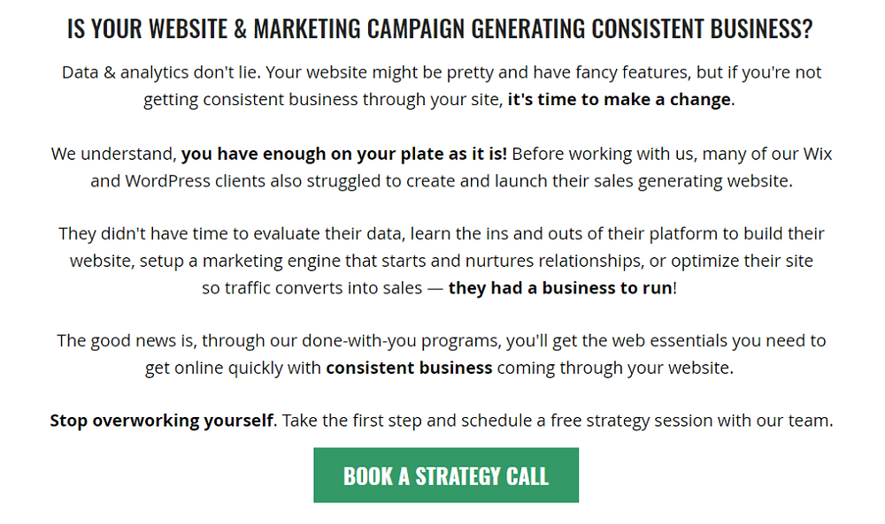 example of compelling web copy