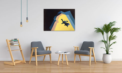 yellow and blue art on wall