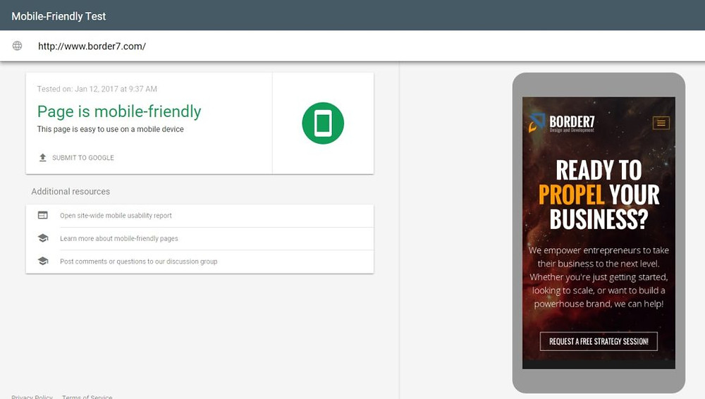 Border7.com Mobile-Friendly Test Screenshot