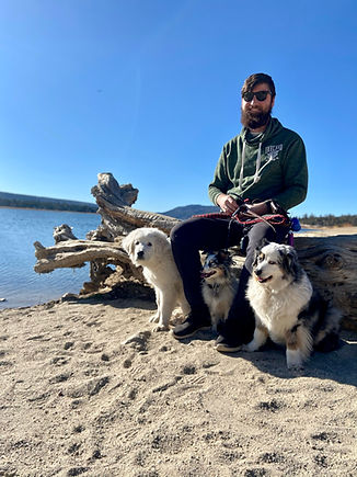 brendan and the dogs at the lake