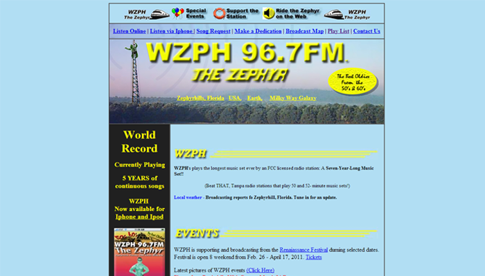 Example of dated web design
