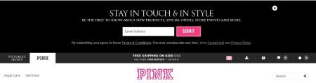 victoria's secret's pink newsletter signup bar