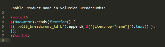 enable product name volusion breadcrumbs
