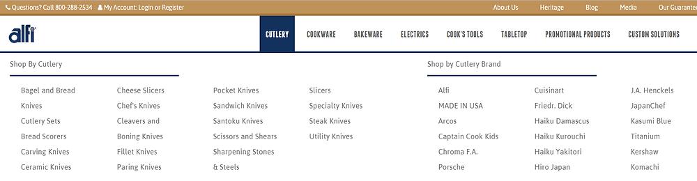 Screenshot of the new Alfi design's mega menu