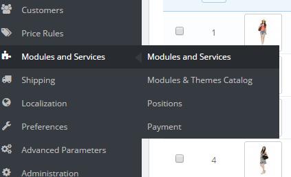 modules and services menu prestashop dashboard
