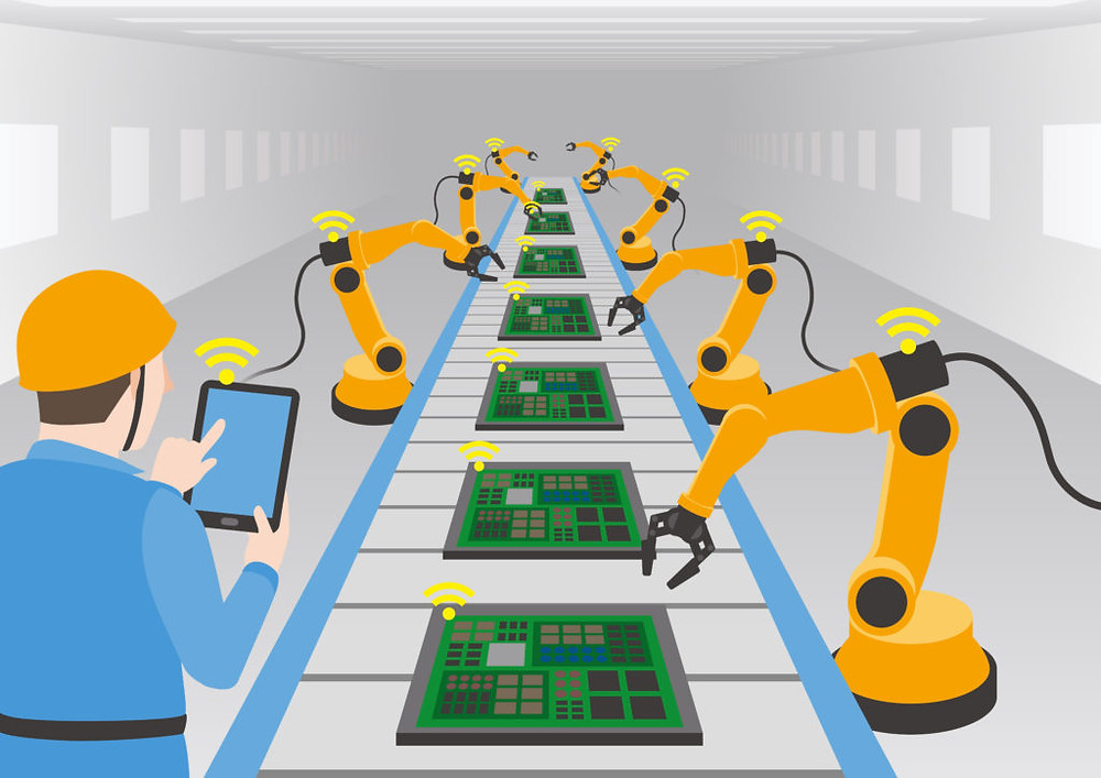 Example of an automated assembly line