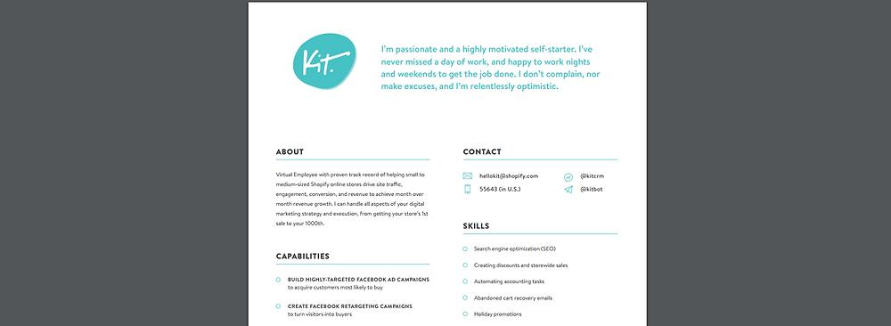 shopify kit's resume