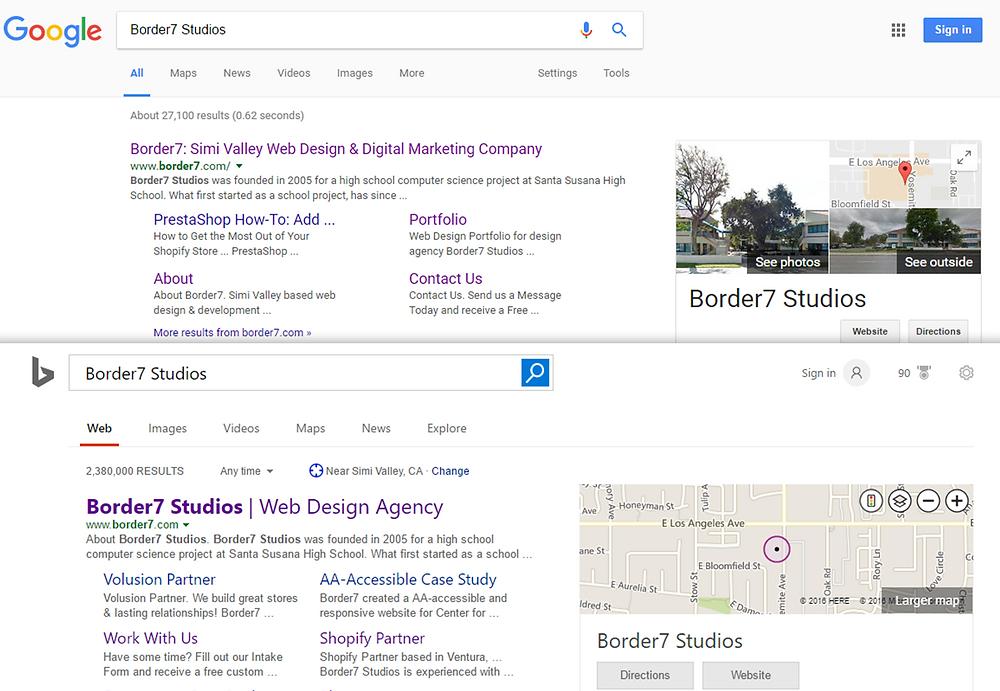 "SEO comparison of thge search ""Border7 Studios"" on Google and Bing"
