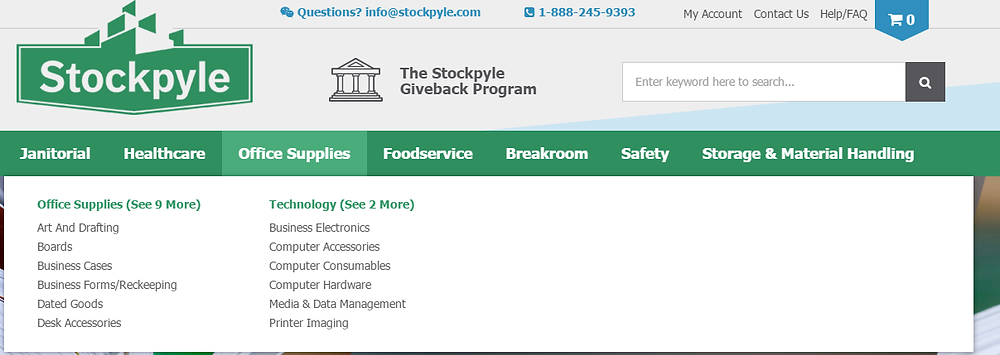 Stockpyle sub category page