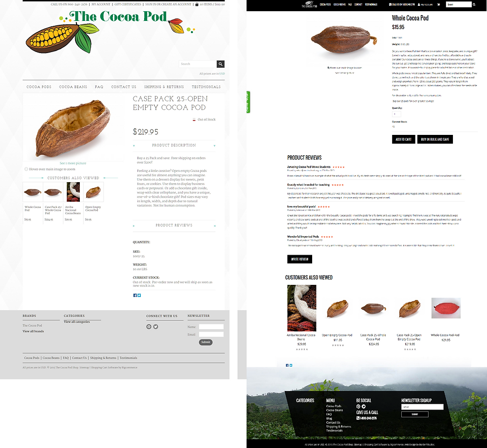 cocoa pod product page before and after