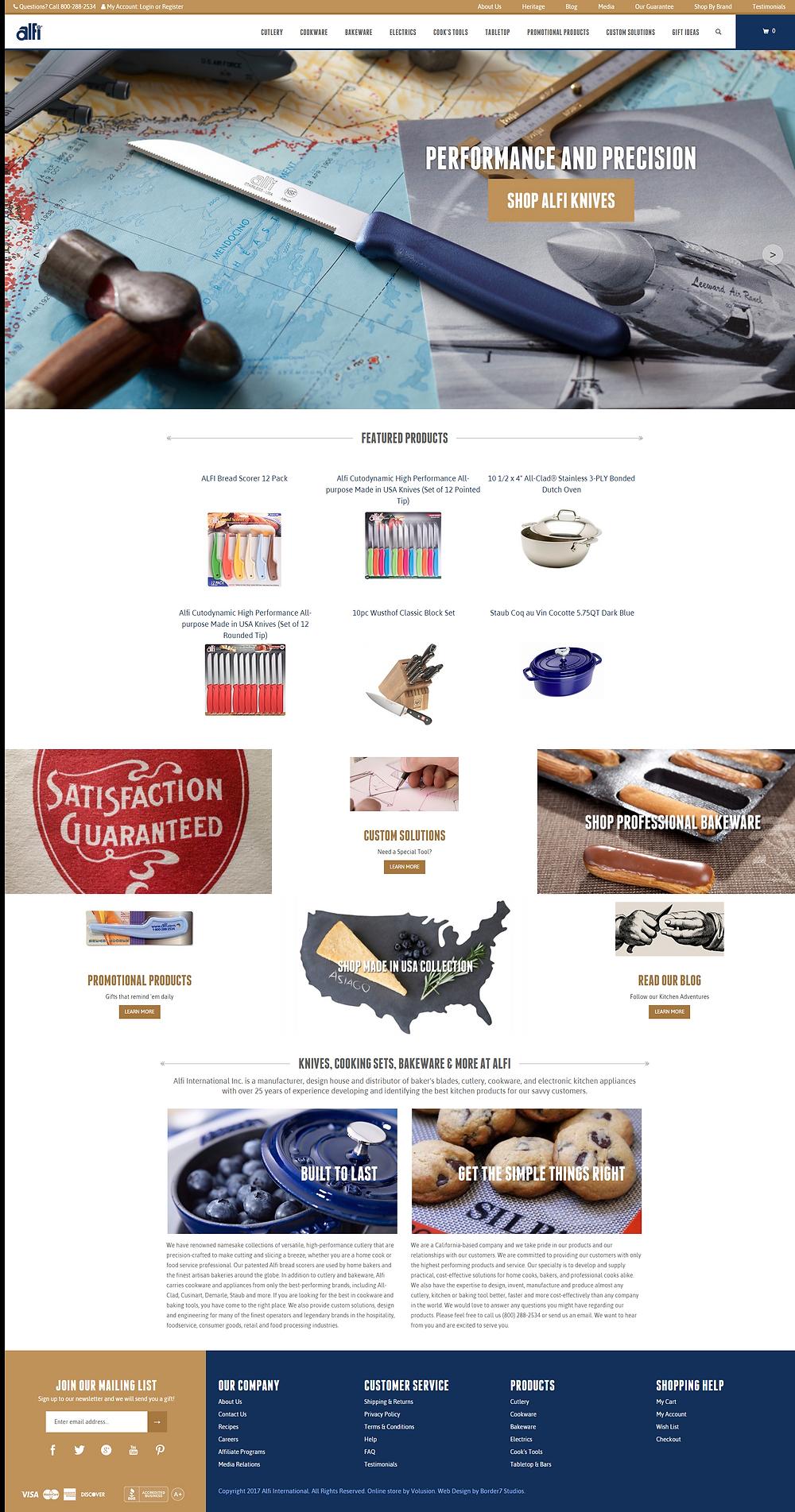 Screenshot of the new Alfi.com design