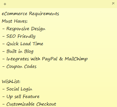 ecommerce must haves list
