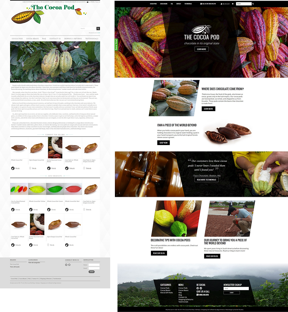 cocoa pod homepage before and after