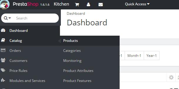 products menu prestashop dashboard