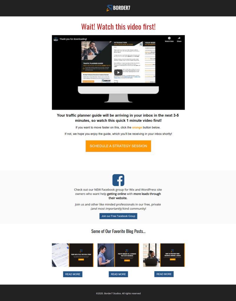 improve your digital strategy example thank you page