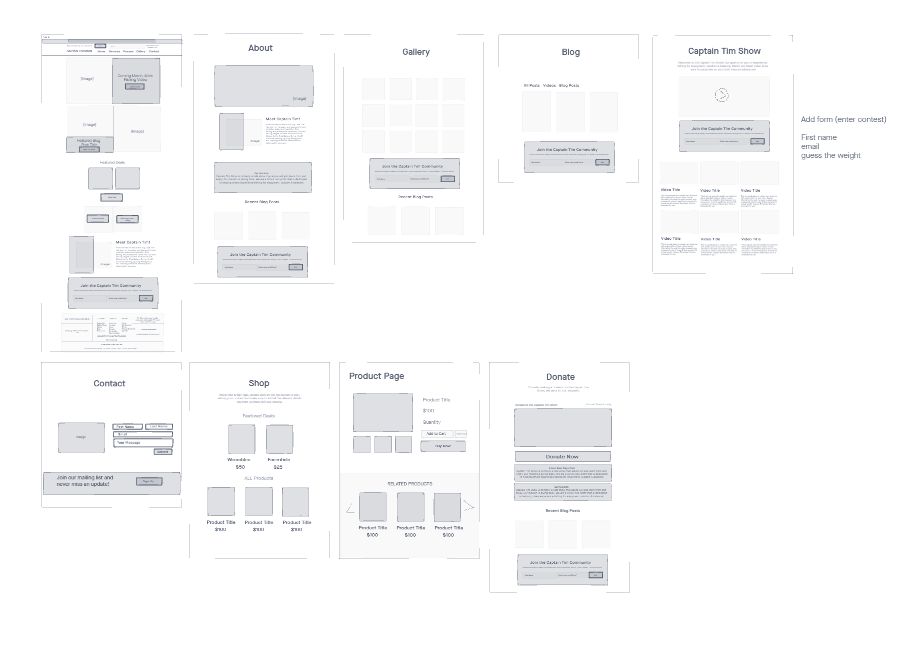 Wix Video Channel Website wireframes