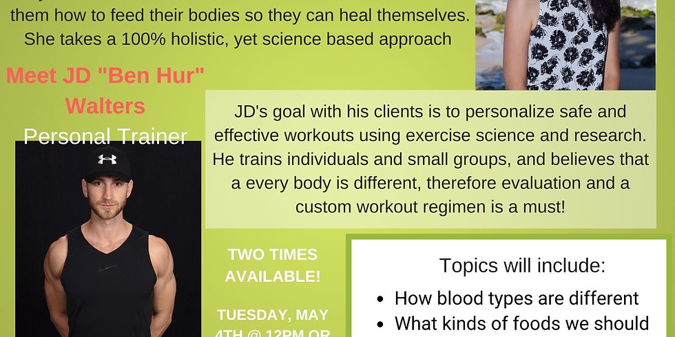 Blood Type and Exercise with Carrie and JD - 7PM SESSION