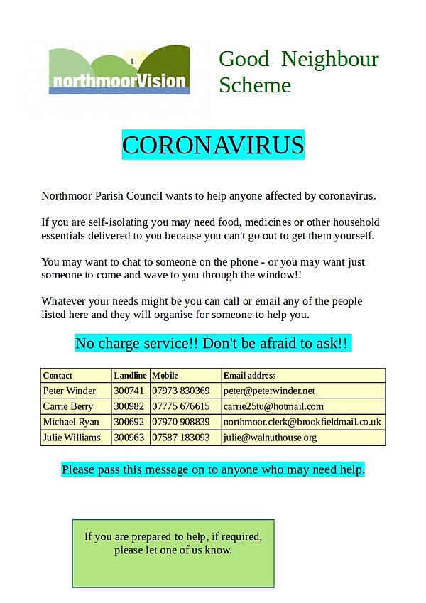 Northmoor Good Neighbour Scheme Coronavirus flyer