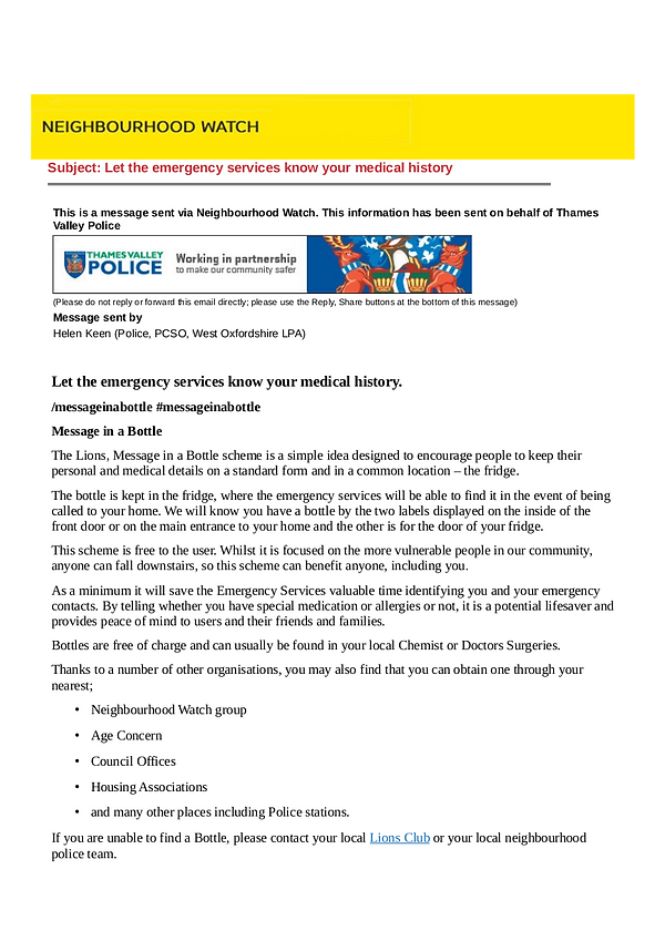 Thames Valley Police Neighbourhood Watch flyer