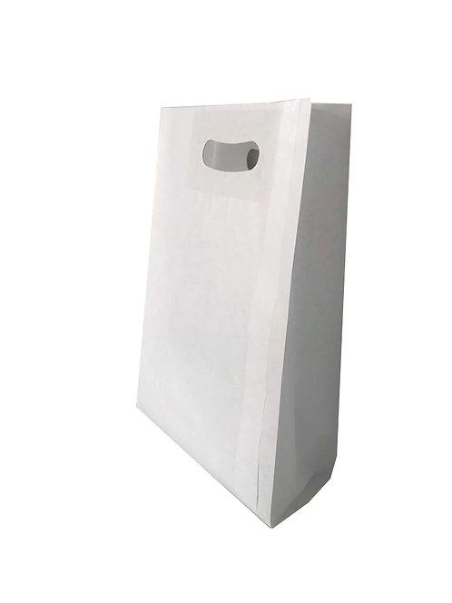Bolsa Papel Asa Troqueleada Blanca