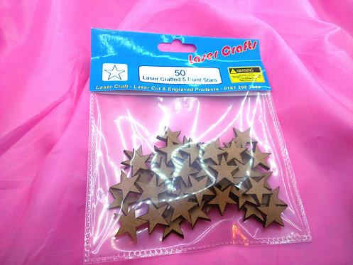 50x 20mm Laser Cut Stars