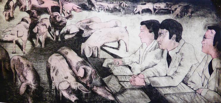 Les intellectuels devant un champ de cochon