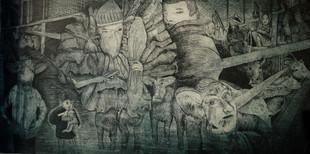 La ferme,, gravure eau-forte, 2008