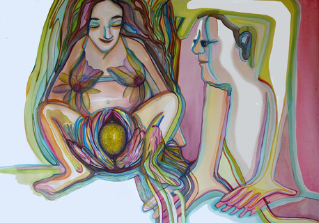 105 x 75 cm, encre et aquarelle sur papier, 2020.