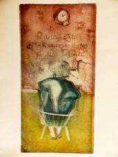 Tu parles pour un repas de Noel ! gravure eau-forte couleur, 2012