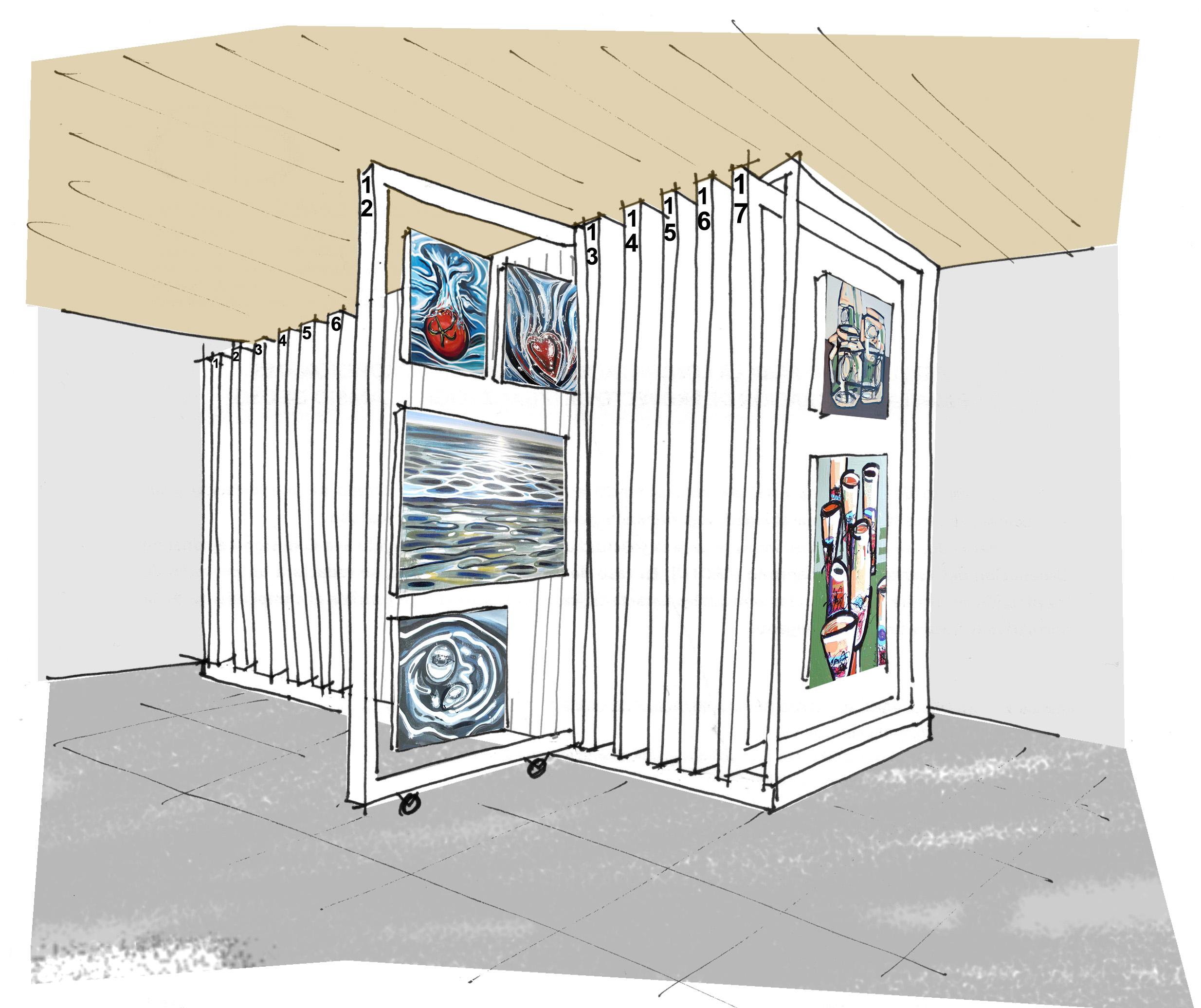 Mobiliario de galería de arte