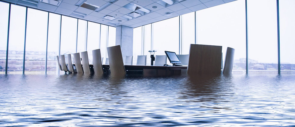 Flooded boardroom