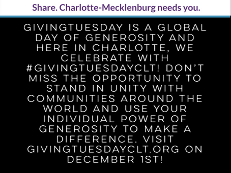 🖤 Help us and other Charlotte nonprofits on #GivingTuesdayCLT!❤️