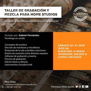 TALLER DE GRABACIÓN Y MEZCLA PARA HOME STUDIO