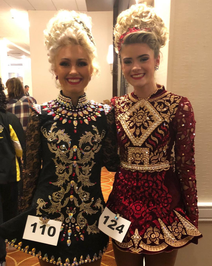 Rochester Academy Irish Dancers in their gorgeous solo dresses at Oireachtas
