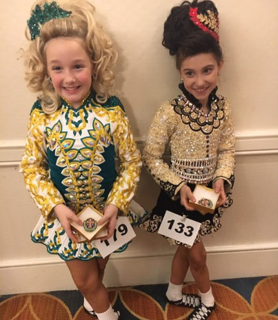 Two of our younger dancers at Oireachtas