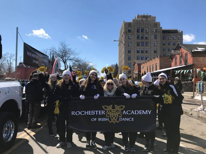 Rochester Academy Irish Dancers at the Rochester Saint Patrick's Day parade where they won best Irish dance school