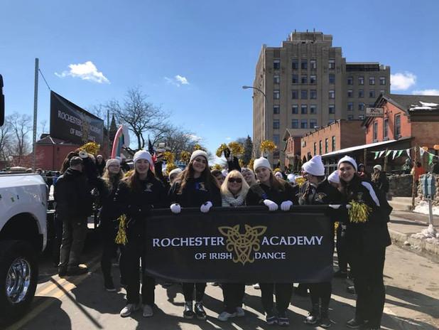Rochester Academy Irish Dancers at the Rochester Saint Patrick's Day parade where they won best Irish dance school