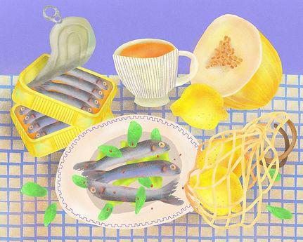 Still life sardines, Magdalena Studio.jp