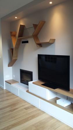 meuble TV original bois et blanc