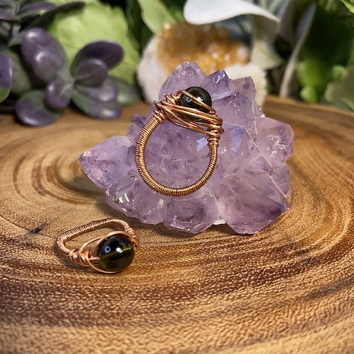 Moldavite Bead Ring