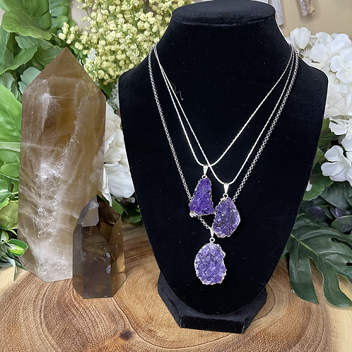 Silver Druzy Amethyst Necklace