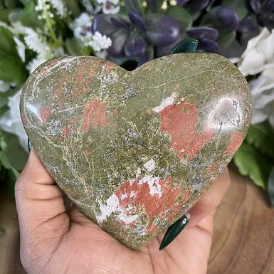 Large Unakite Heart