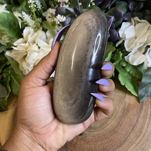 Jumbo Silver Sheen Obsidan Palm Stone