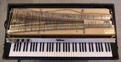 Top view of harp and keyboard
